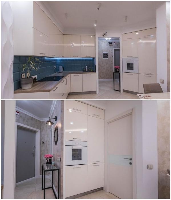 Удачная планировка позволила разместить кухонный гарнитур и встроенную технику вдоль стен и перегородки. | Фото: lemurov.net.