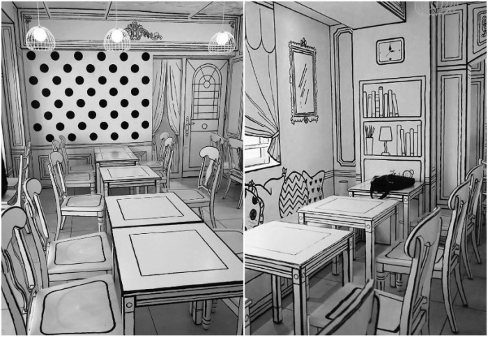 Сразу и не поймешь, что столы и стулья настоящие («2D Cafe», Токио). | Фото: boredpanda.com.