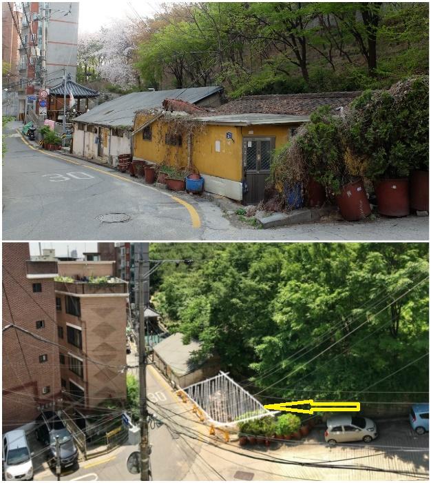Рядом с этими лачугами оказался пустующий треугольный участок по приемлемой цене (Seroro House, Сеул).