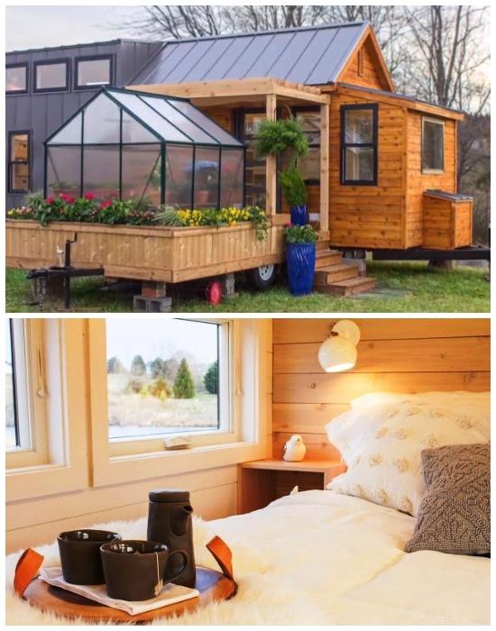 Для создания крошечного дома на колесах «Эльза» использовали натуральные строительные и отделочные материалы. | Фото: tinyhousetown.net.