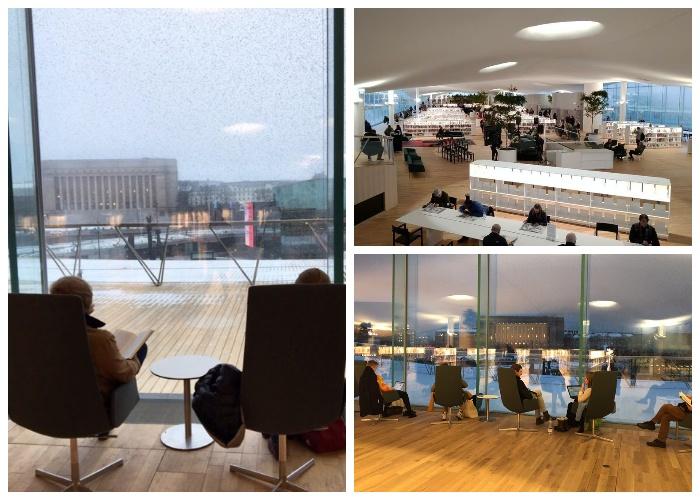 В читальном зале организовали удобные места для чтения книг (Центральная библиотека Oodi, Хельсинки).