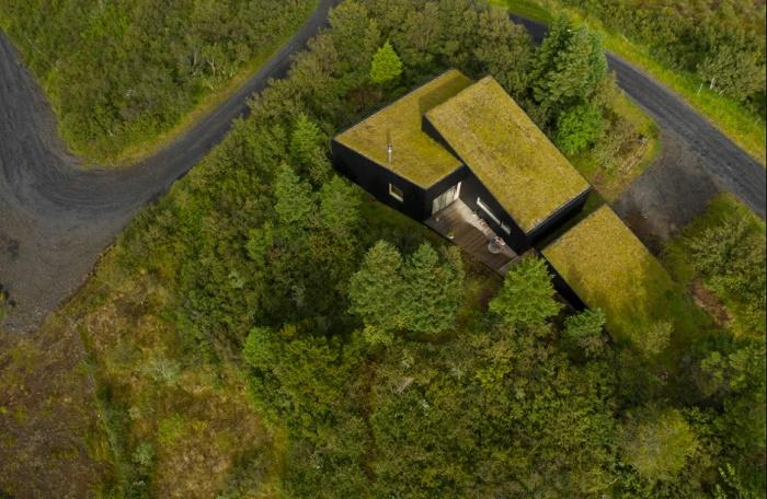 Зеленая крыша из травы, дерна и мха стала главной изюминкой дома, интегрированного в рельеф холма (Thingvallavatn House, Исландия). | Фото: mymodernmet.com.
