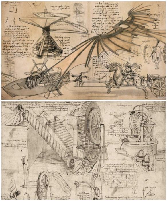 Рисунки и чертежи Леонардо да Винчи раскрывают огромный диапазон талантов и интересов универсального во всех отношениях человека. | Фото: pinterest.com.