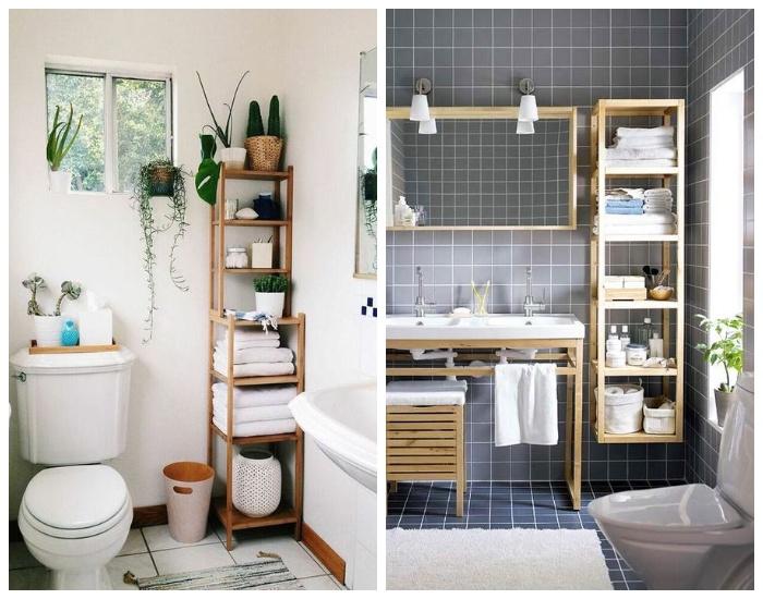 Этажерки для ванной комнаты можно сделать своими руками.
