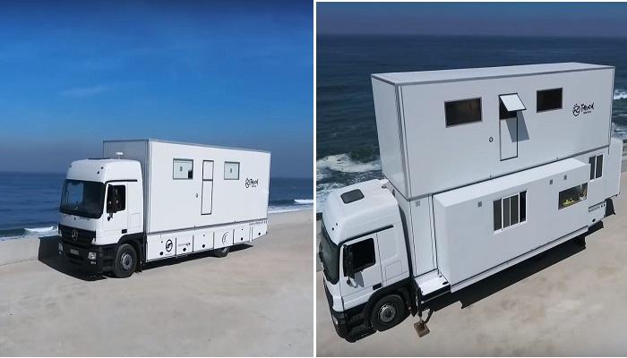 Трансформация грузовика в комфортабельный комплекс Truck Surf Hotel.