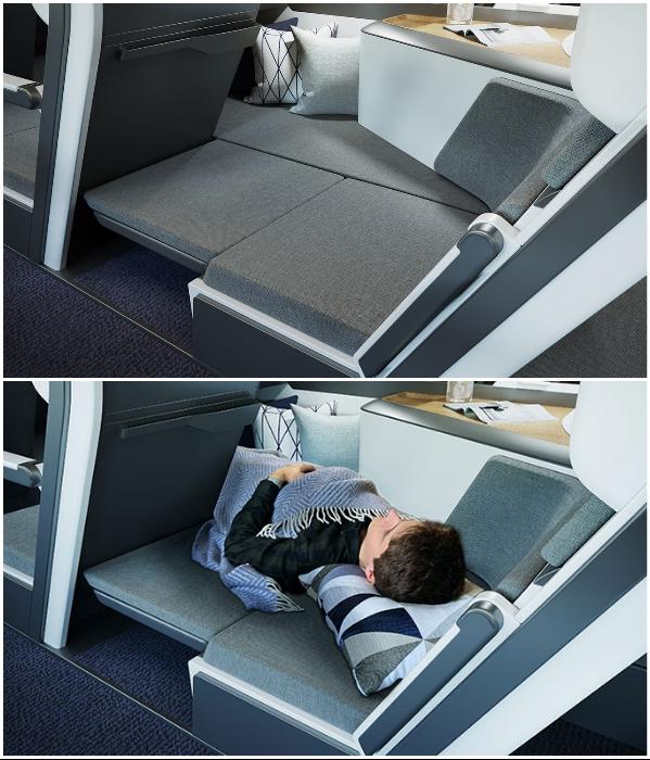 Теперь в самолете пассажир эконом-класса сможет полноценно выспаться. | Фото: boredpanda.com/ © Zephyr Aerospace.