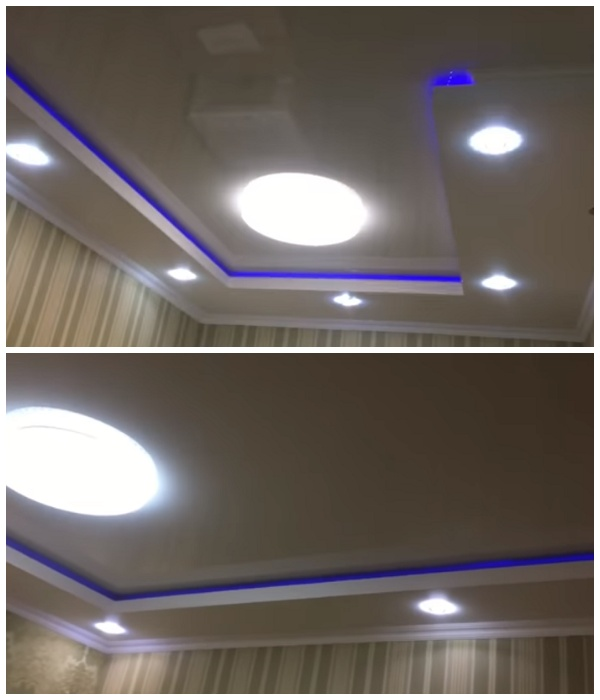 Комбинированные потолки стали главным украшением квартиры.