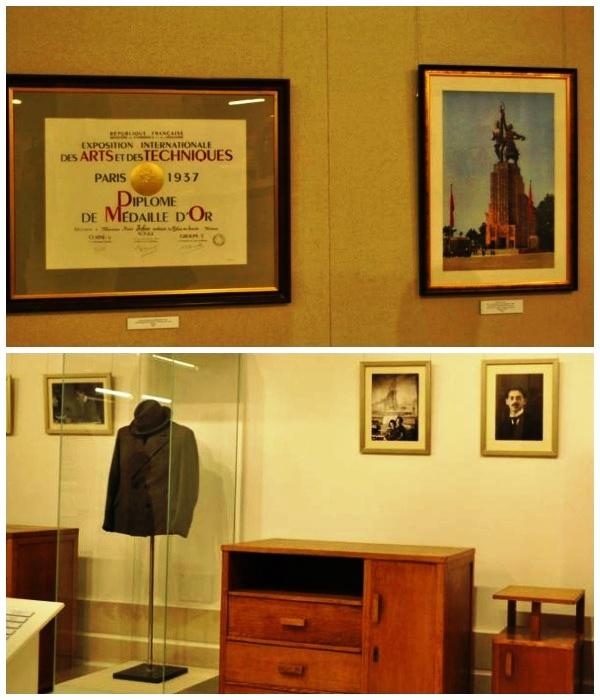 На первом этаже выставлены предметы и вещи создателей советского павильона в Париже (Монумент «Рабочий и колхозница»).