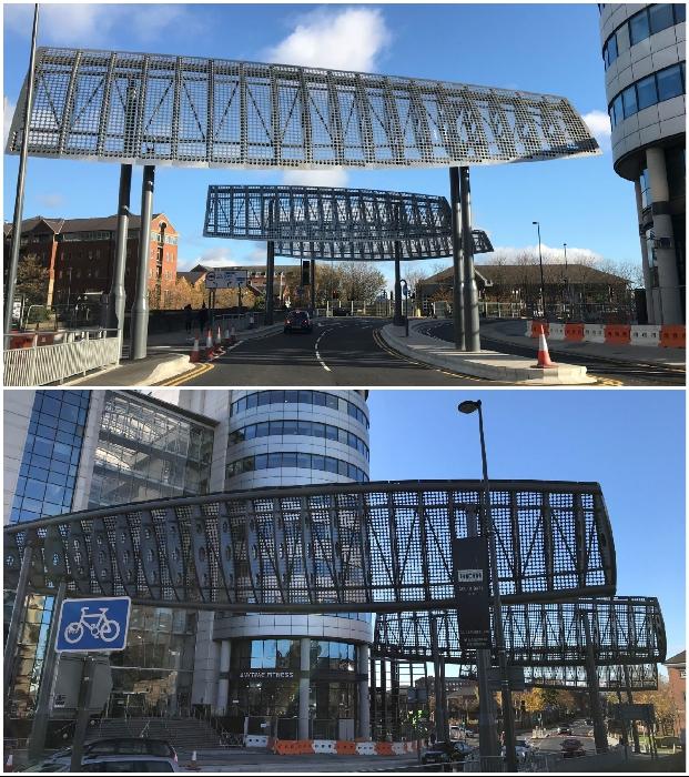 Стальные «крылья», покрытые перфорированным алюминием, позволяют обезопасить движение автотранспорта и пешеходов (Bridgewater Place, Лидс).