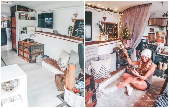 Гостиная в трансформированном автобусе тоже может быть уютной и привлекательной (Oliver). | Фото: instagram.com/ sincewewokeup.