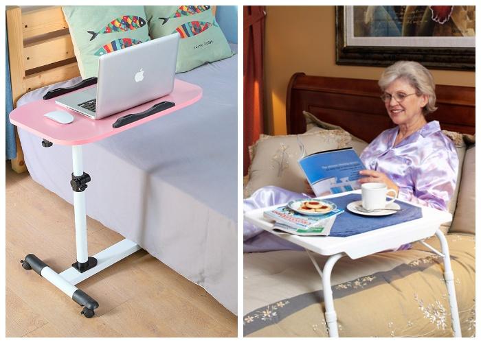 Модели приставных столиков, подходящие для постельного режима.