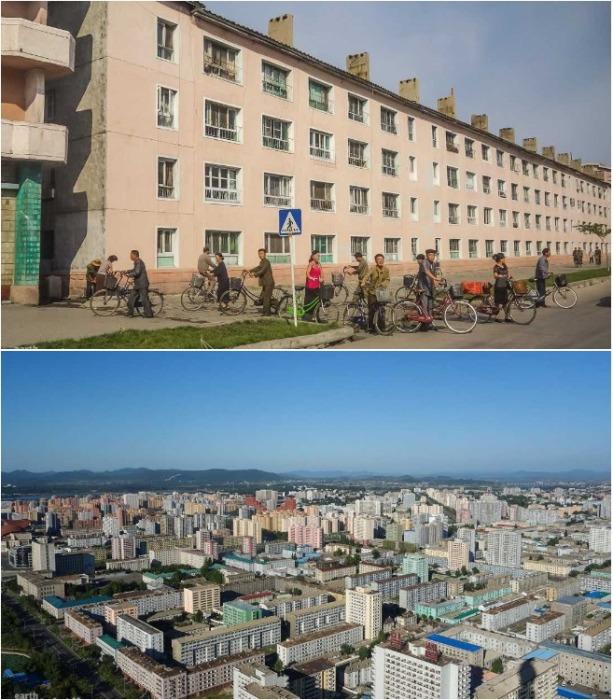 Современные жилые микрорайоны восстановленных городов Северной Кореи. | Фото: deadbees.net.