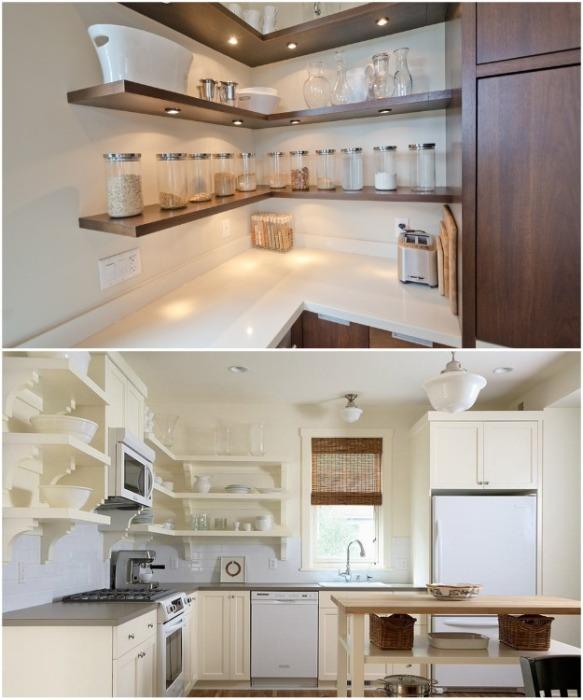 Пустые углы на кухне можно занять и открытыми полками — это зрительно увеличит пространство. | Фото: aviarydecor.com.