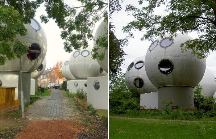 Такие необычные формы жилых домов больше похожи на инопланетян с огромной головой и выпученными глазами (Bolwoningen, Нидерланды).   Фото: bugaga.ru.