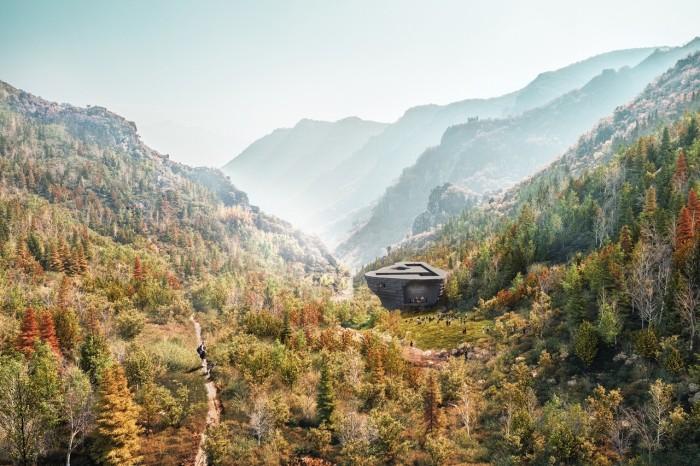 Концертный зал органично интегрирован в долину между скал («Chapel of Sound», Китай). | Фото: newatlas.com.