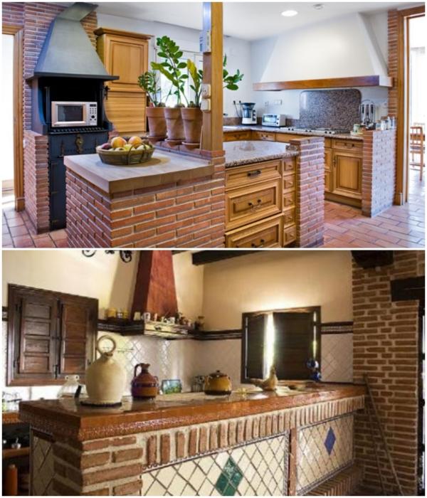В загородном доме или в летней кухне на даче такого рода гарнитуры смотрятся довольно органично.   Фото: kuhniplan.ru/ remont-kvartir-v-zhk.com.