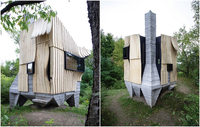 Фантастической формы домик, напечатанный на 3D-принтере, расположен неподалеку от кампуса Cornell University (Ashen Cabin, Итака). | Фото: dezeen.com.
