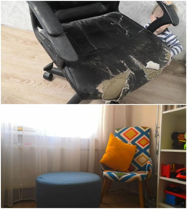 Трансформация облезлого офисного кресла прошла успешно.