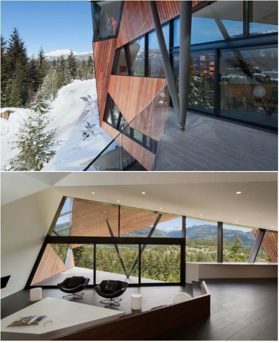С огромных окон загородного дома Hadaway House открывается прекрасный вид на долину Вистлер (Канада). | Фото: designboom.com.