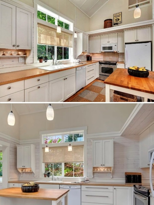 В мини-коттедже удалось оформить полноценную кухню, в которой есть все необходимое (Kvale Hytte, США). | Фото: smallhouseswoon.com.