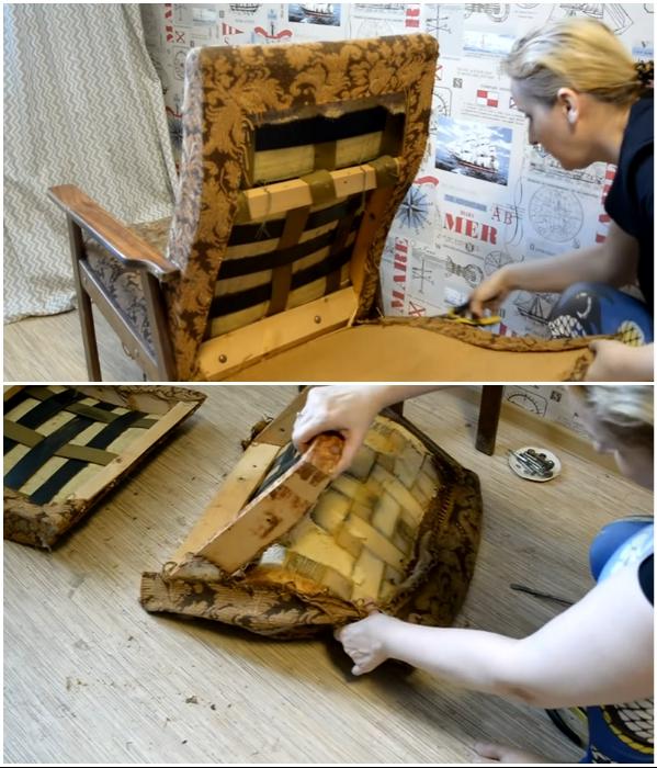 Перед реставрацией кресло нужно полностью разобрать и деревянный каркас очистить от старых материалов, креплений и т.д. | Фото: youtube.com/ © Светлана Анисимова.