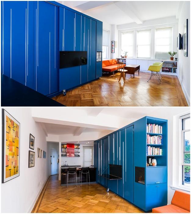 Пустая с виду комната оказалась очень даже уютной жилой зоной (Unfolding apartment, Манхэттен).