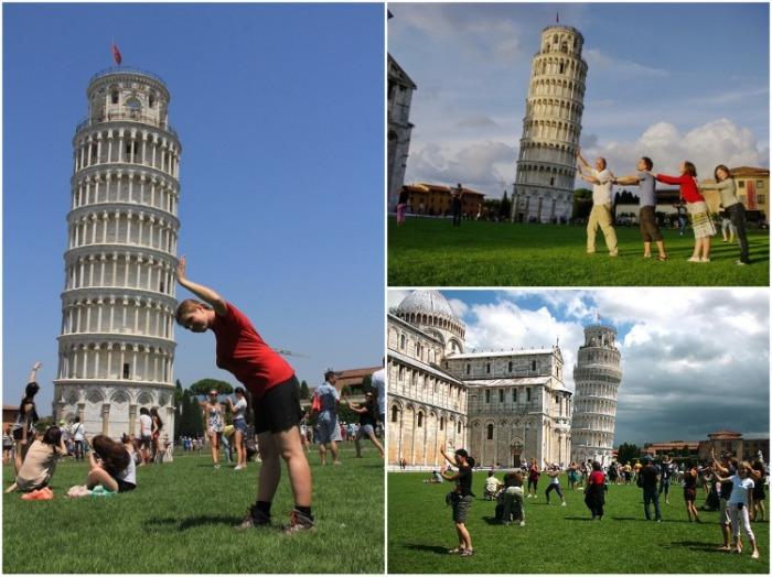 С массовым появлением фотоаппаратов многомиллионная толпа туристов пытается «поддержать» Падающую башню (Пизанская башня, Италия). | Фото: am-world.ru.