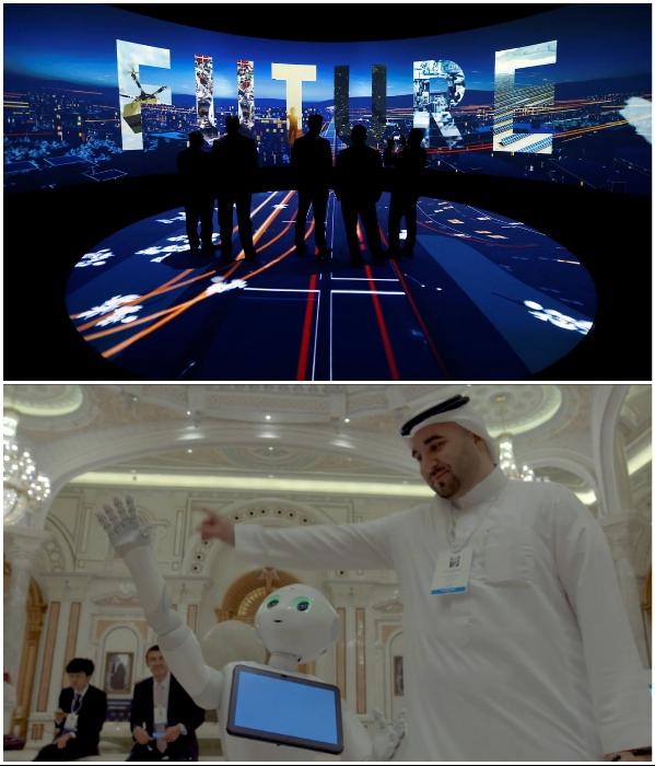 На презентации концепта был продемонстрирован не только видеоролик, но и неизменные помощники города будущего – роботы (NEOM). | Фото: youtube.com/ © KJ Reports.