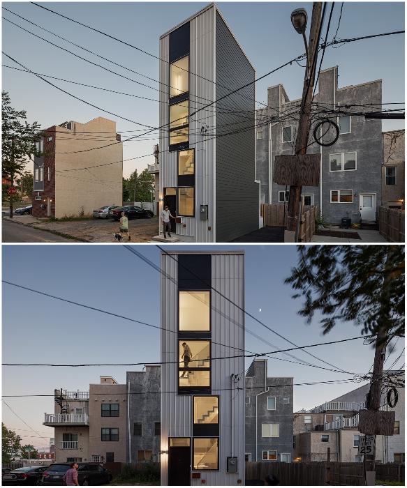 Крошечный дом-башня Interface построили на участке 3,6 x 8,8 м. (Филадельфия, США). | Фото: homecrux.com.