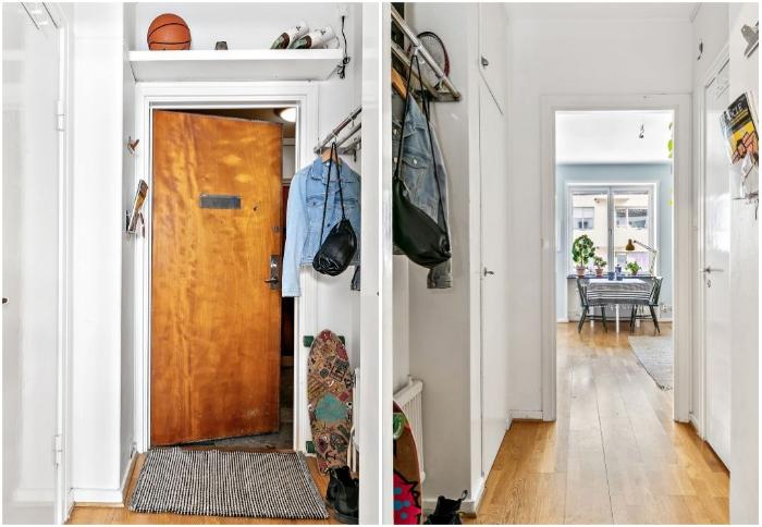 Оформление прихожей-коридора в малогабаритной квартире Стокгольма. | Фото: hitta.se/ lemurov.net.