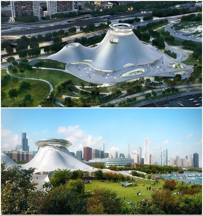 Так должен был выглядеть Lucas Museum of Narrative Art, если бы концепт был реализован в Чикаго (2014 г.).