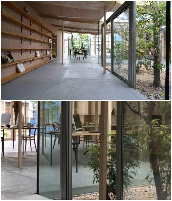 Деревья растут прямо на участке и пронизывают конструкцию офиса и его крышу насквозь («Sannouno», Япония). | Фото: mymodernmet.com/ studiovelocity.jp.