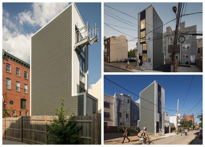 Две боковые стены здания полностью «глухие» (Tiny Tower, Филадельфия).
