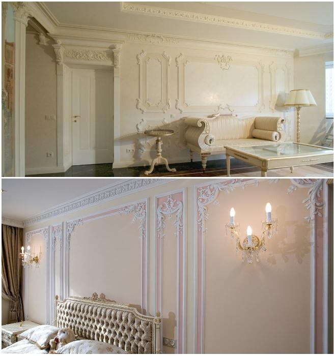 Если позволяет площадь жилья и очень хочется оформить в стиле барокко, то лепнина должно быть без позолоты и наполнение интерьера соответствовать. | Фото: mosoboi.ru/ dizainexpert.ru.