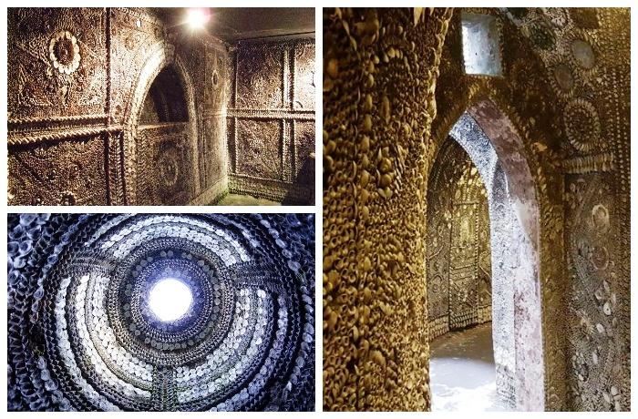 Таинственный подземный дворец украшенный великолепной мозаикой из морских раковин (Margate Shell Grotto).