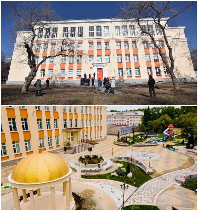 Как выглядела Екатеринбургская школа № 106 в 2019 г. и какой вид имеет уже 1 сентября 2020 г. | Фото: bigpicture.ru/ ekaterinburg.bezformata.com.