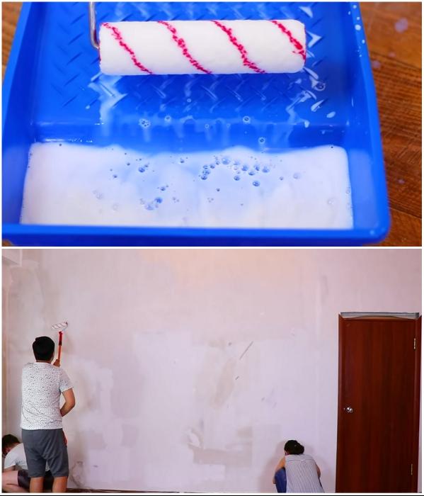 Грунтовка стен перед дальнейшими работами – очень важный процесс. | Фото: youtube.com/ © Fancy smth.