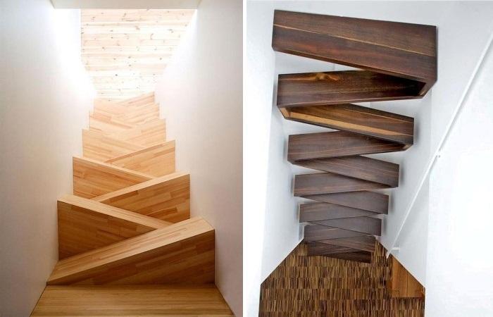 Даже обычная на вид лестница может вызвать головокружение, если посмотреть сверху вниз. (авторские проекты TAF arkitektkontor и Treppen & Bauelemente Schmidt GmbH). | Фото: mymodernmet.com.