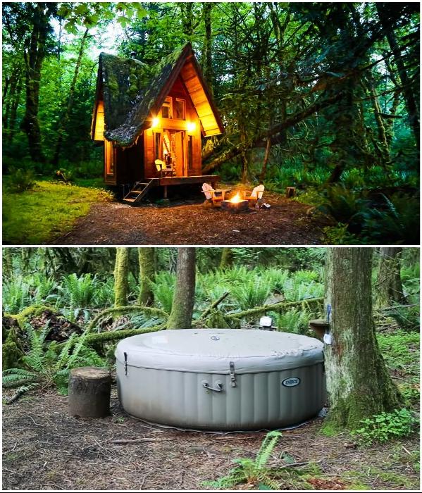 Теперь можно наслаждаться не только отдыхом у костра, но принимать ванны под открытым небом.   Фото: youtube.com/ © Living Big In A Tiny House.