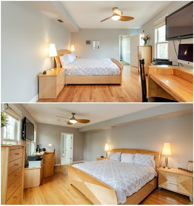 Основная спальня узкого дома оказалась очень даже просторной («Pie house», Дирфилд). | Фото: odditycentral.com/ lemurov.net.