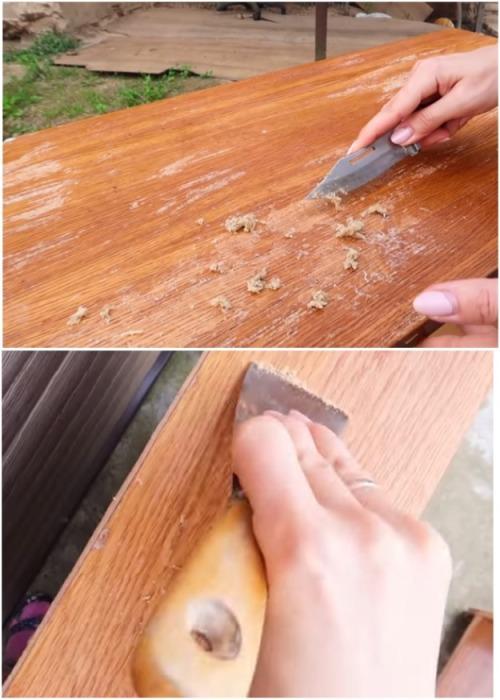 Снимать растворившийся слой лака можно с помощью шпателя или ножа с плотной сталью. | Фото: youtube.com.