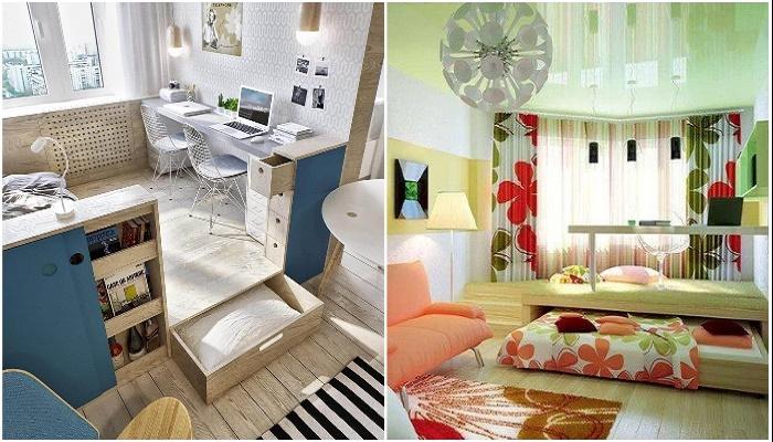 Рабочий уголок на подиуме легко трансформируется в спальную или гостевую зону. | Фото: links-stroy.ru.