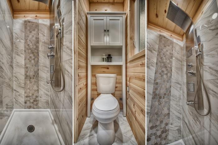 В мобильном крошечном доме есть благоустроенная ванная комната (Tiny Homes Acorn). | Фото: tinyhouseenvy.com.