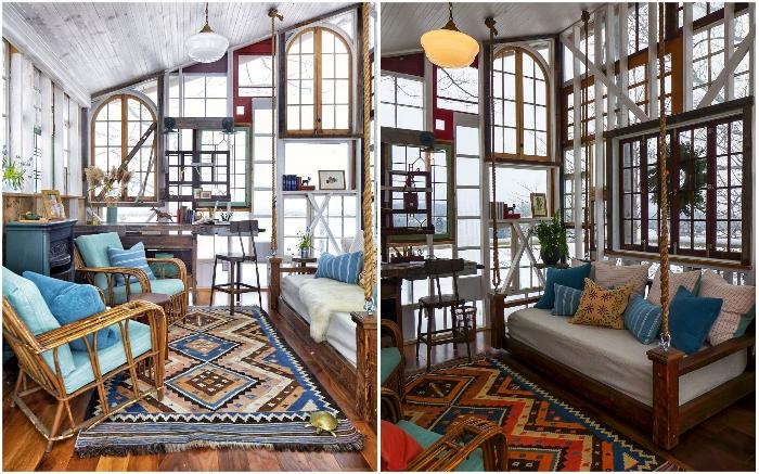 Потрескавшиеся рамы и сплошные стекла привнесли особенный шарм в оформление интерьера творческой студии дизайнера.