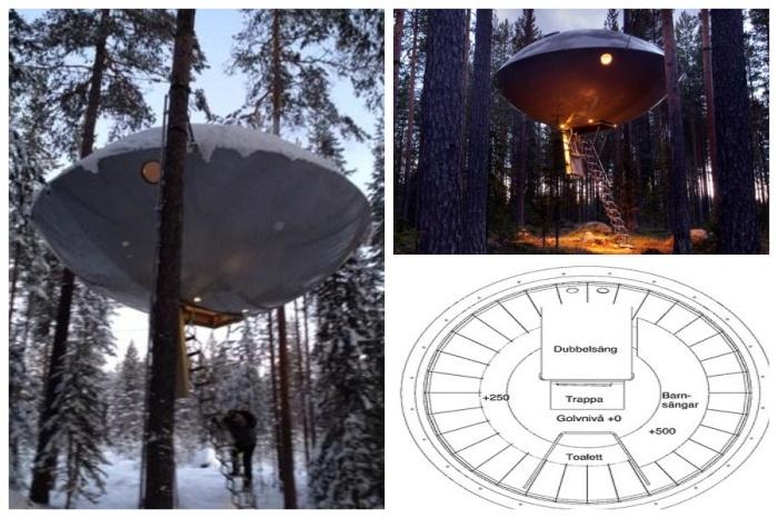 Номер на дереве «UFO» выбивается своей космической тематикой из лесного окружения (отель Treehotel, архитектурный проект Inredningsgruppen). | Фото: greatsmallhotels.com.
