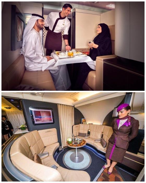 Зал для отдыха и одна из кабин с пассажирами первого класса (аэробус А-380). | Фото: top.funnyreps.club/ etihad.com.