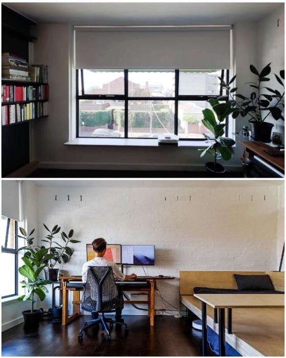 Рабочую зону молодой человек разместил у окна. | Фото: youtube.com.