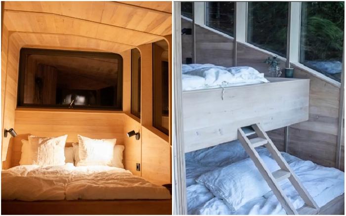 В отельном номере обустроено две спальных зоны, в которых может разместиться 4 человека (Woodnest, Одда).