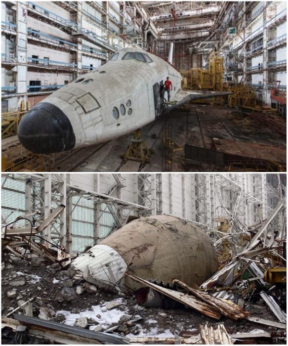 После 14-летнего простоя «Буран» был практически полностью разрушен. | Фото: interestingengineering.com/ neonivanov.livejournal.com.