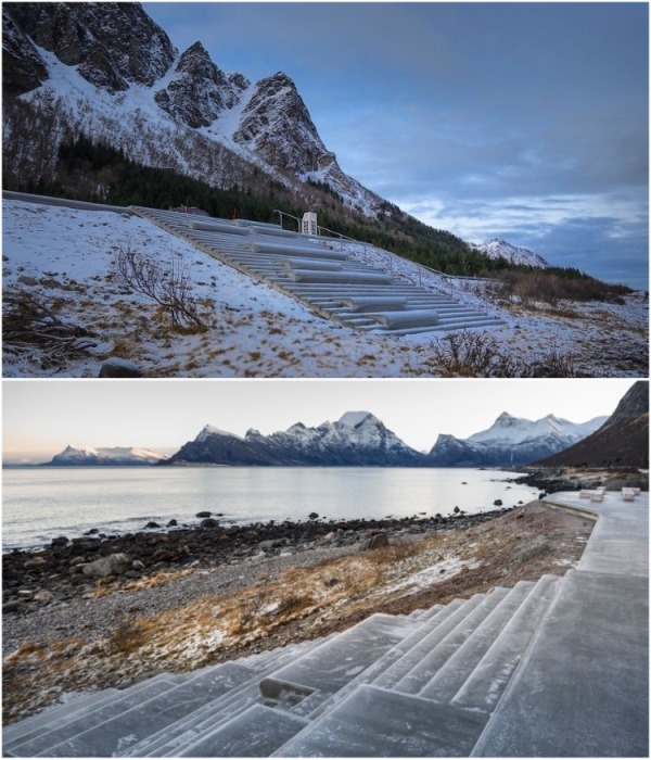 Желающие размяться могут спуститься к Норвежскому морю по специально вылитым из бетона ступеням (Зона отдыха Ureddplassen, Норвегия). | Фото: uniilad.blogspot.com